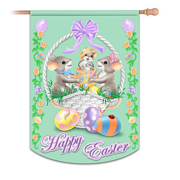 Charming Tails Happy Easter Flag
