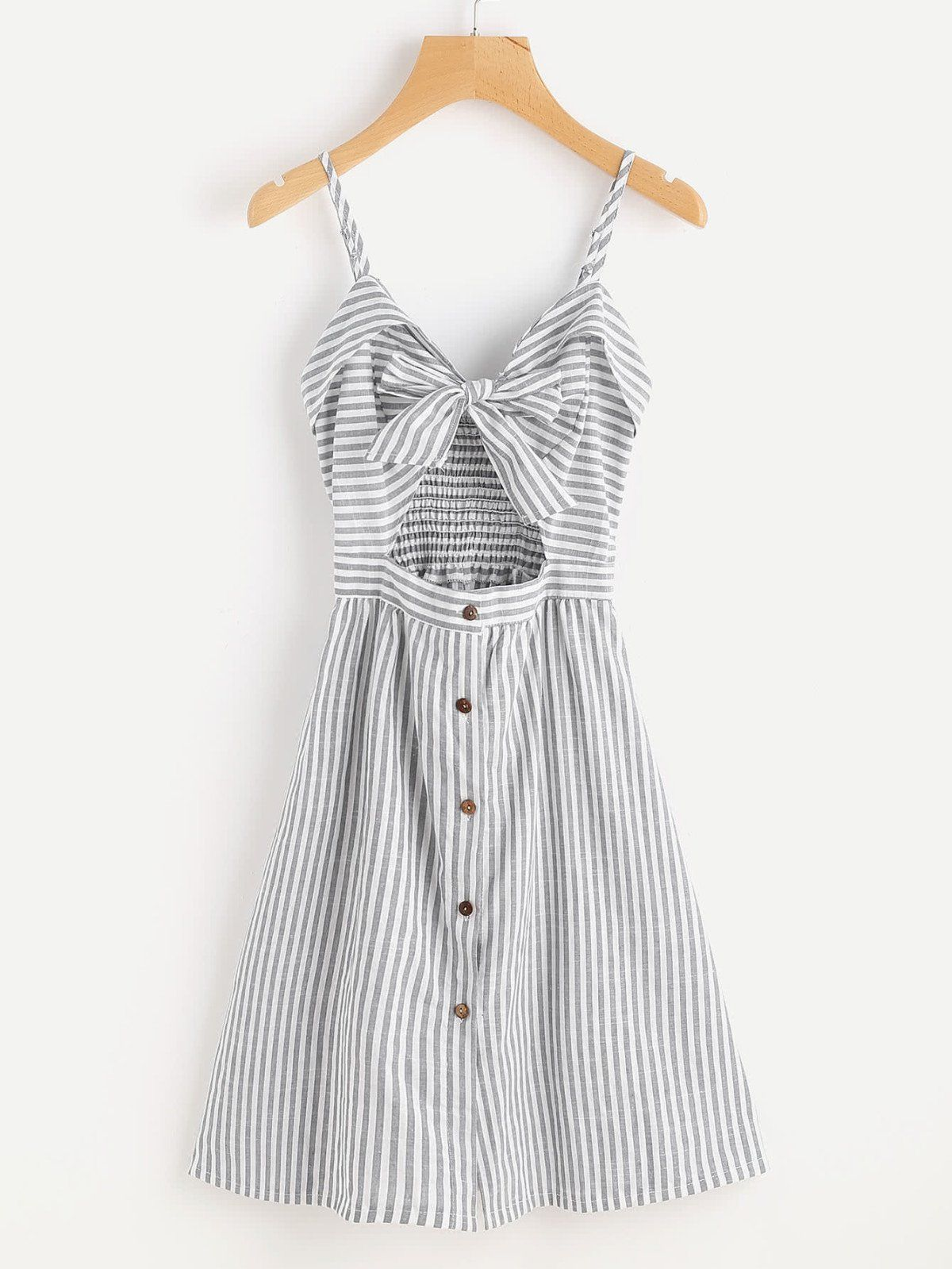 Dresses by borntowear stripe cut out bow front foldover cami dress