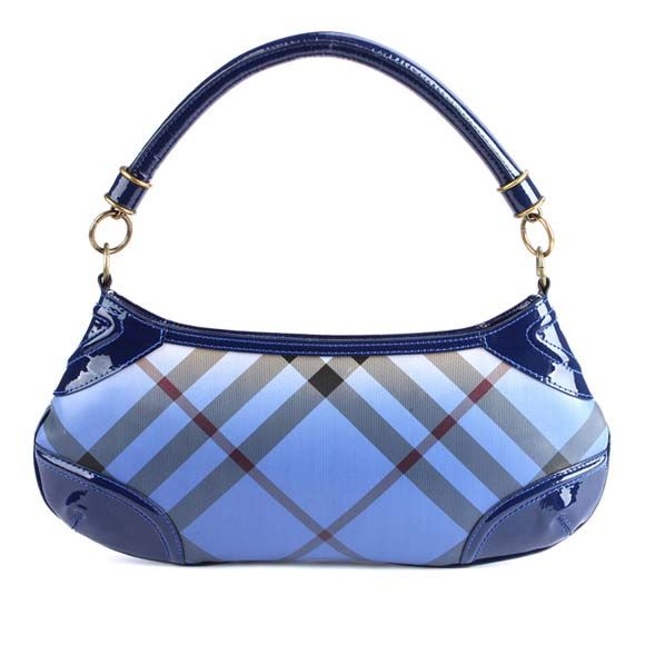 "Burberry hobo bag in blue ""plaid"" pattern."