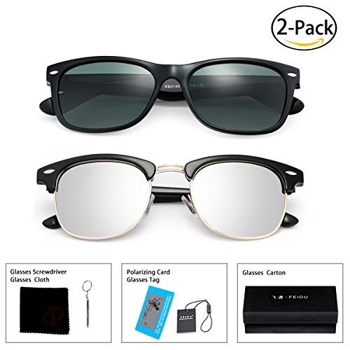 d70bd5833f FEIDU Retro Polarized Clubmaster Sunglasses for Men Half Metal Women  FD2149Green Silver(2pack)