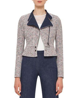 Tweed+Denim+Moto+Jacket,+Multi+by+Akris+punto+at+Neiman+Marcus.
