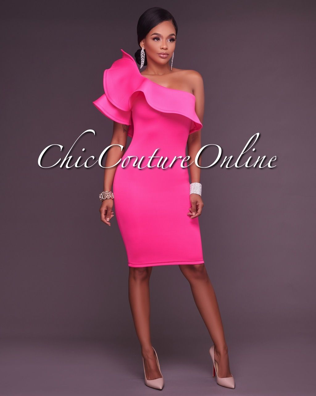 River Hot Pink One Ruffle Sleeve Midi Dress