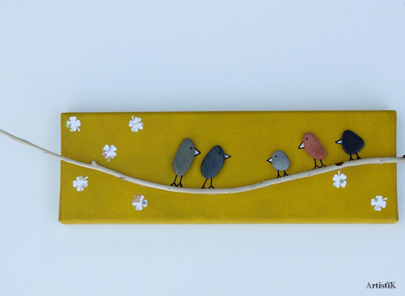 tableau galets oiseaux bois flott jaune moutarde dessin. Black Bedroom Furniture Sets. Home Design Ideas