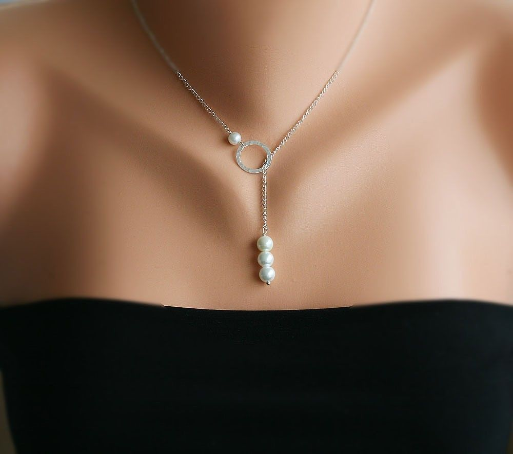 Sterling silver Karma,Circle and Pearl Necklace,bridesmaid gift,wedding bridal jewelry,birthday gift.