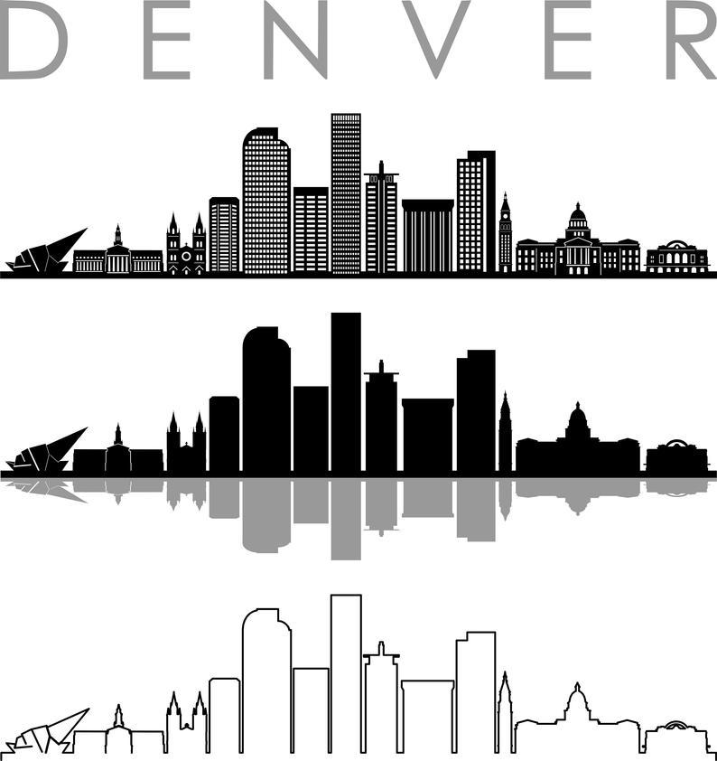 Denver Skyline Outline Silhouette Vector Svg Eps Jpg Png Etsy In 2021 Denver Skyline Silhouette Vector Skyline