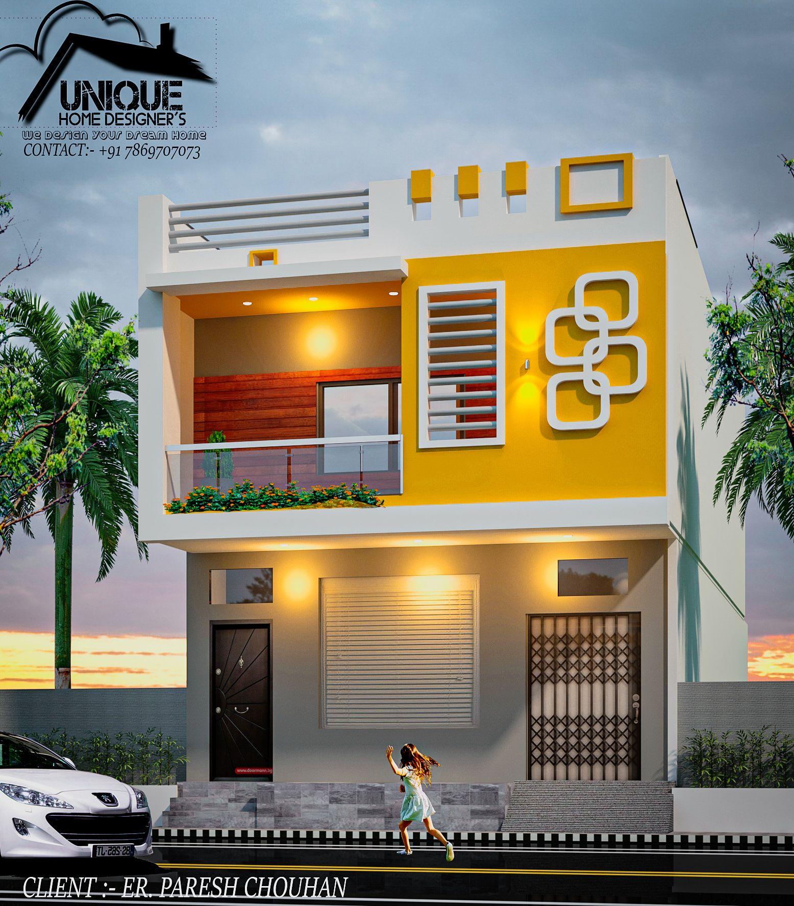 Unique Home Exterior Design: Modern House Exterior Elevation Of House By Er. Sameer