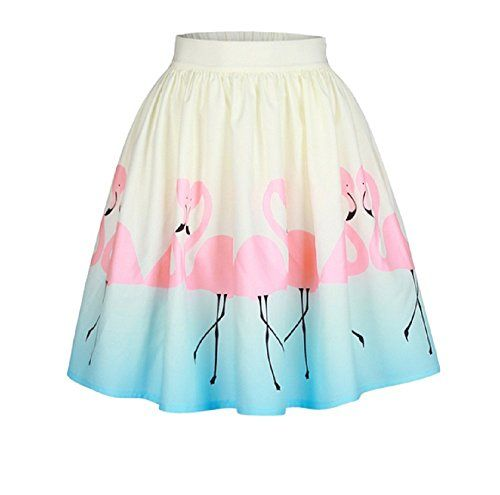736ce42a4 Uhat Women's Fashion Flamingo Printing Puff Skirt Elastic Waistband Loose  Swing Ball Gown Evening Flare Skirt (XL)