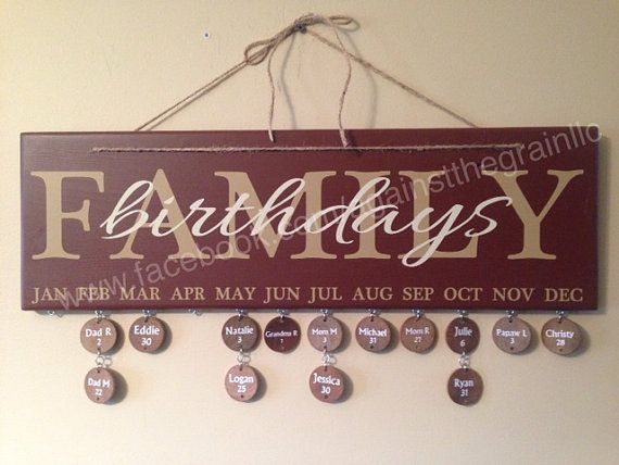 This sign makes a great gift for that special someone who likes to keep track of everyones birthdays with a neat display. Measures approximately 23 x 7.25 It includes a set of 20 drilled and stained discs, as well as the metal rings necessary to attach the discs. We recommend using a fine point paint pen when you are ready to write on the discs.  The sign is painted with vinyl wording attached. The color choices listed are shown in the pictures - if you would like to choose your own colors…