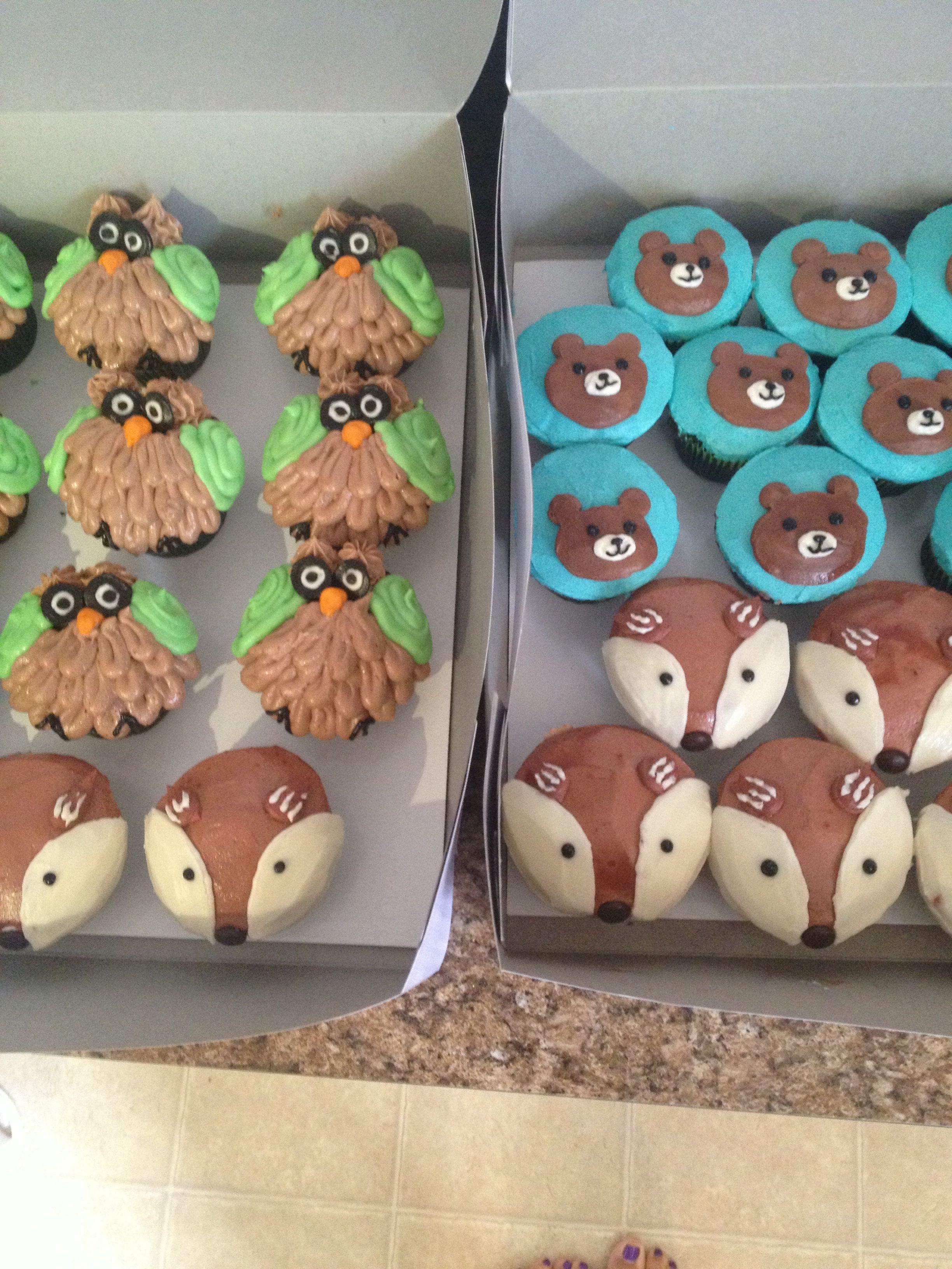 Google themes fox - Woodland Theme Owl Fox Bear Cupcakes