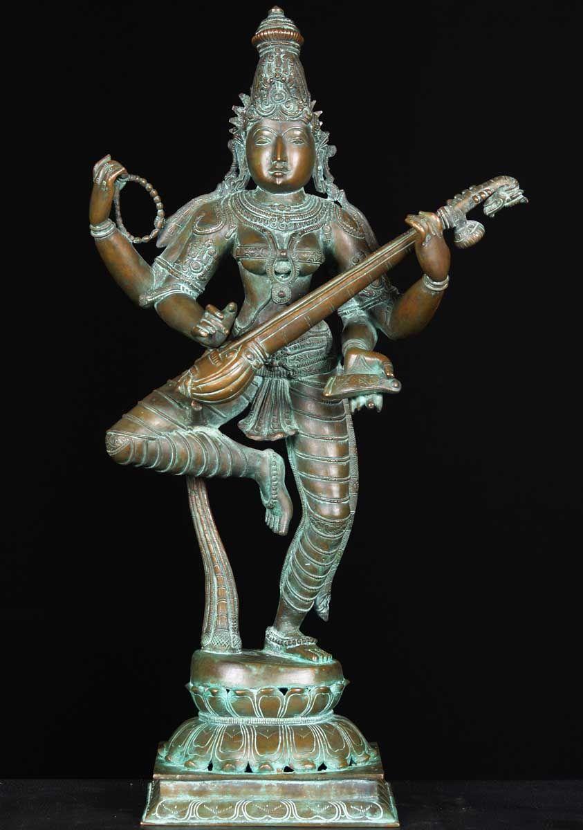 Bronze dancing saraswati statue 24 hindu statues