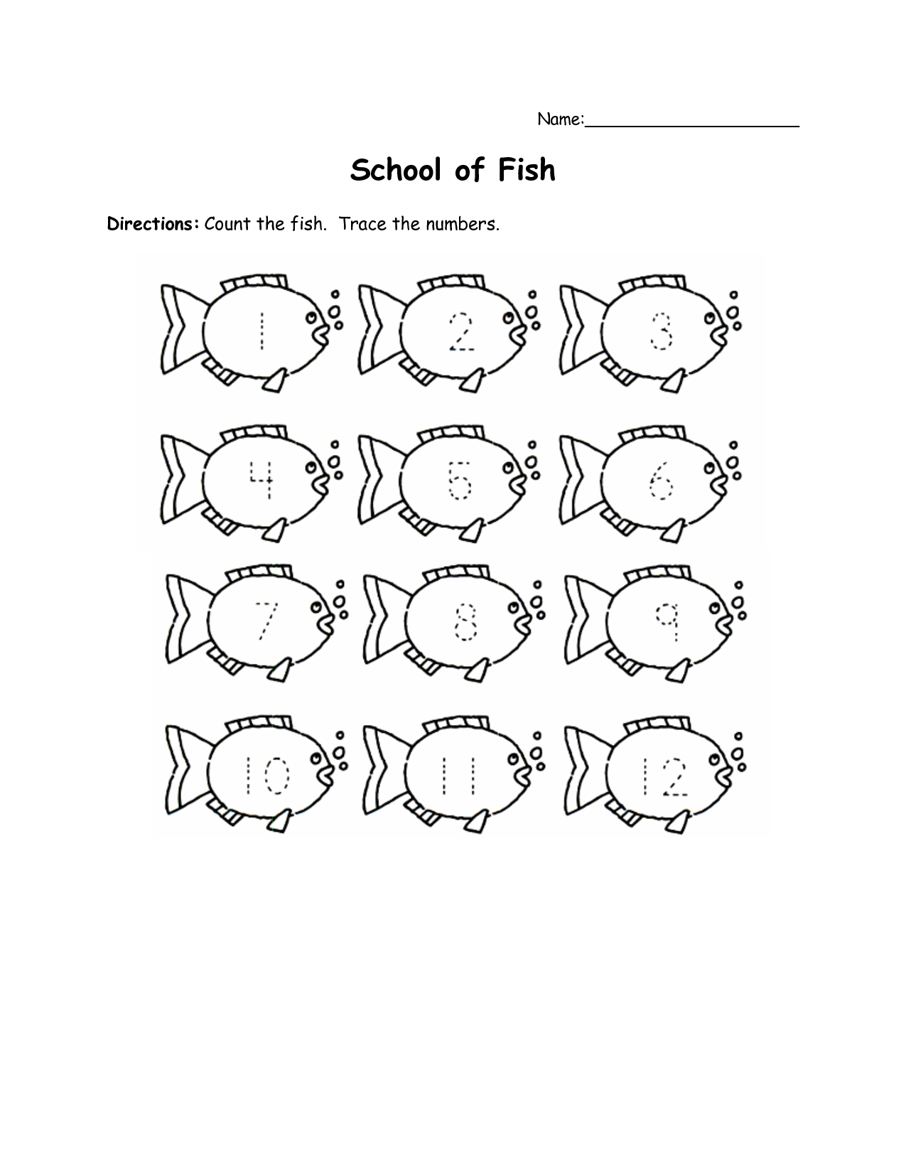 worksheet Fish Worksheets For Preschoolers numbers1 12worksheetsforpreschool trace numbers 1 50 50