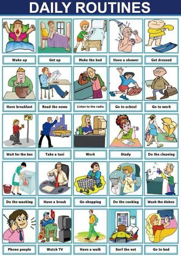 Daily routines english vocabulary pinterest anglais - Cuisiner traduction anglais ...