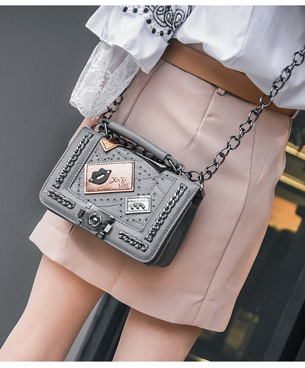 Designer Vintage Rivet Lock Bag  076ae5c21c0d