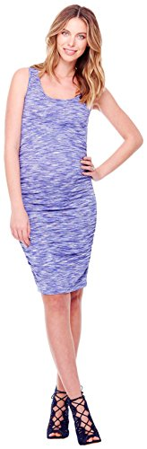 Ingrid  Isabel Womens Maternity Shirred Tank Dress Cobalt Space Dye Large