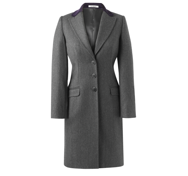 Crombie Covert coat in classic grey with rich purple ...