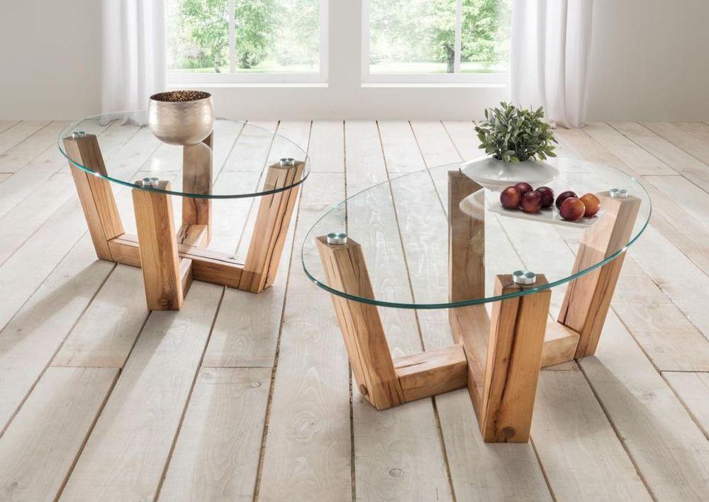 Couchtisch Holz Glas Wildeiche Massiv Oder Kernbuche Massiv