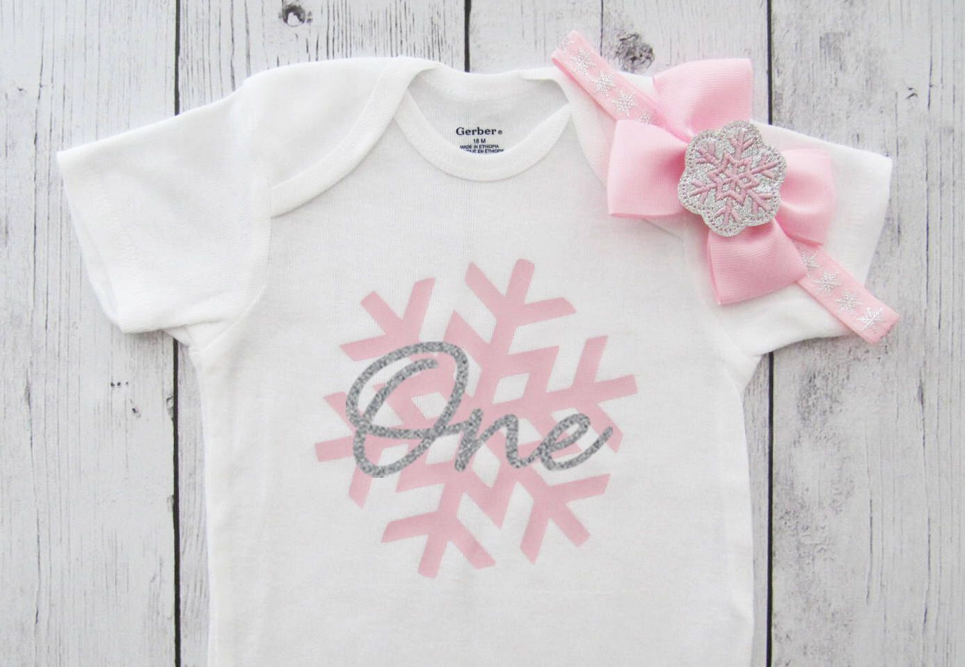 Snowflake First Birthday Onesie for Girl in pink and silver - winter onederland, snowflake shoes, snow much fun to be one