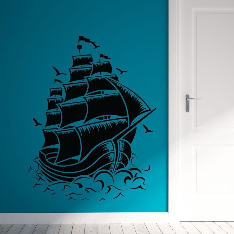Nautical Sail Boat Pirate Ship Wall Decal Wall Stickers Room Home