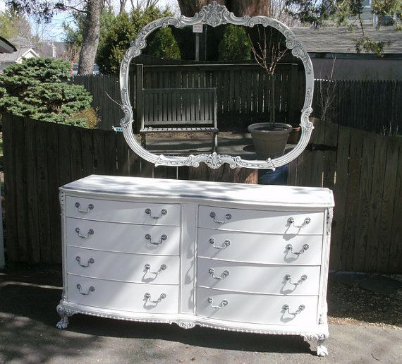 Vintage Dresser & Mirror Shabby Chic by seasidefurnitureshop
