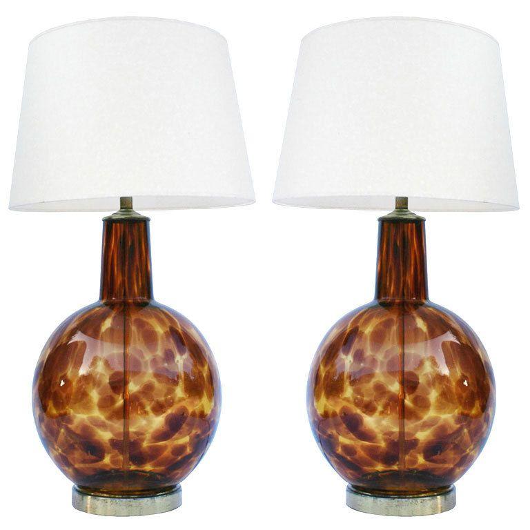 Pair Murano Tortoise Lamps 1stdibs Com Lamp Bohemian Style Decor Vintage Table Lamp
