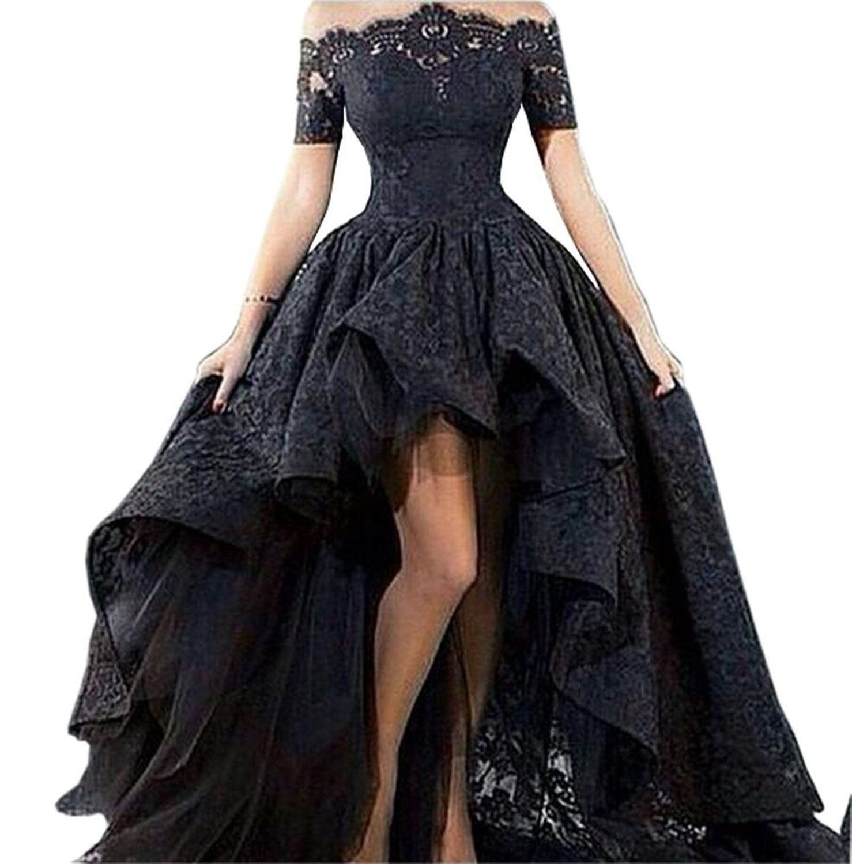 Yangprom black short sleeve short front long back zipper lace prom