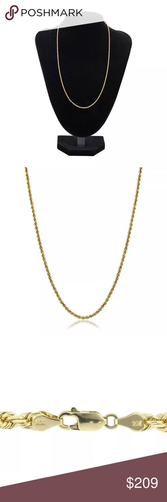 Solid Gold 26 Rope Chain 2mm Brand New Necklace Gold Rope Chains Chains Necklace Necklace