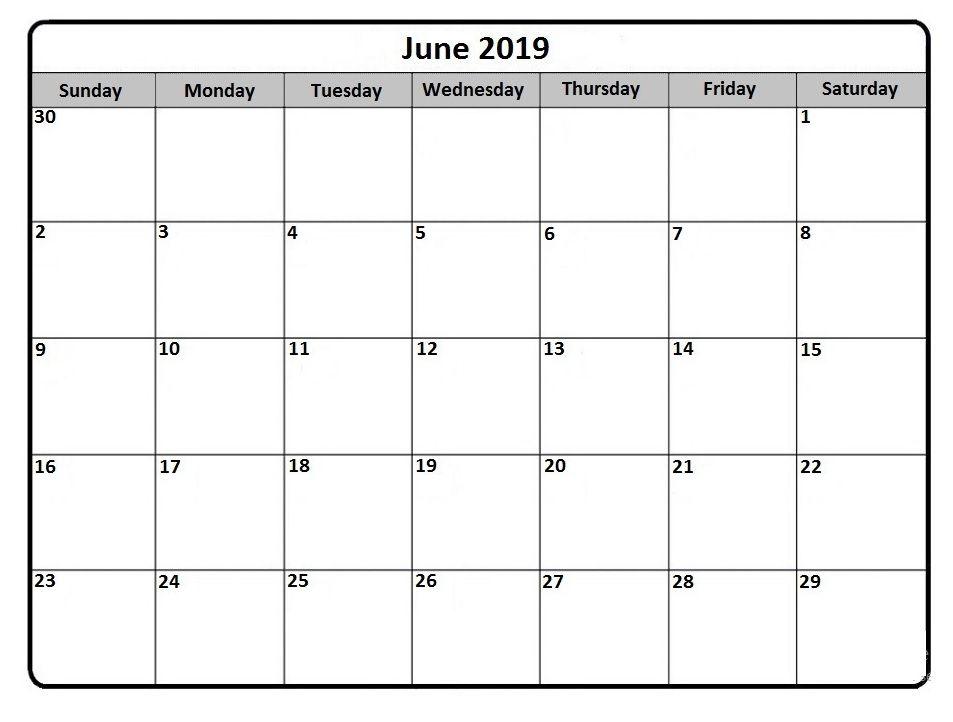 June 2019 Blank Calendar Calendar 2018 In 2019 June 2019