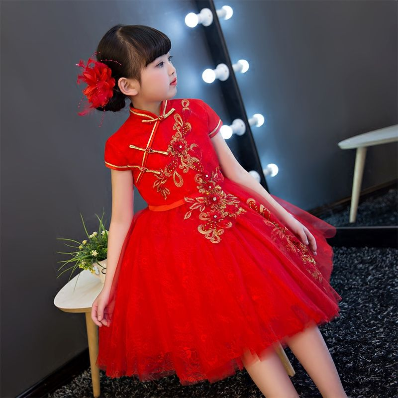 aa0a38386 2017New Chinese Traditional Baby Girls Chi-Pao Cheongsam Red Dress ...