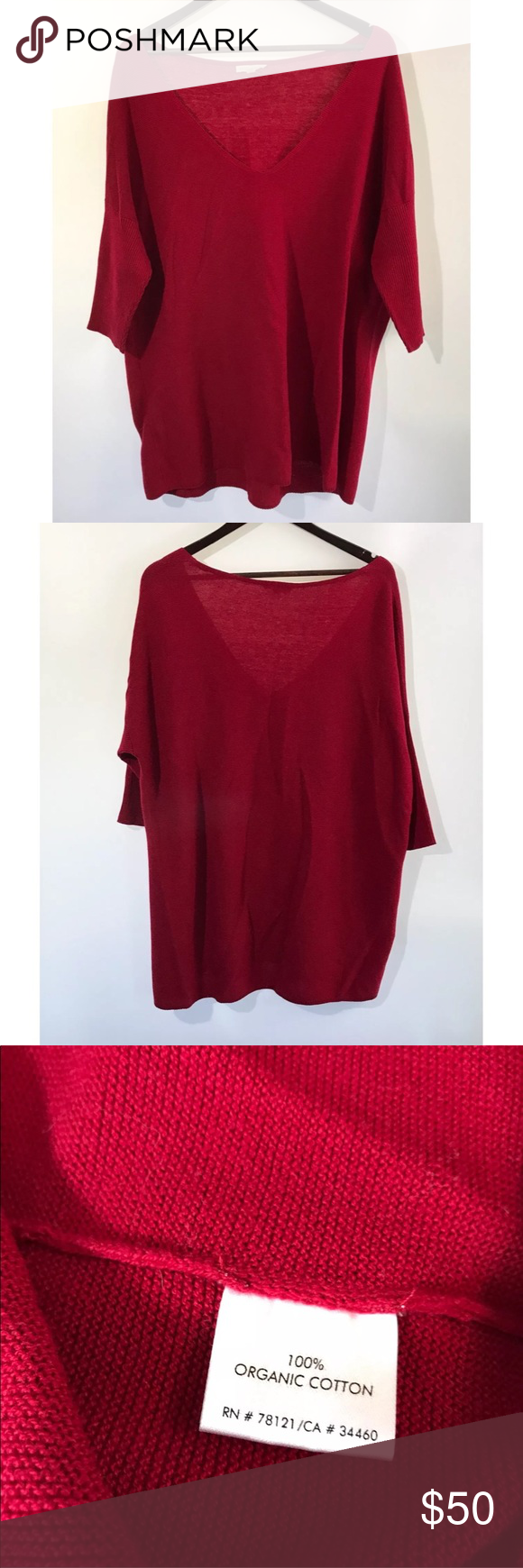Eileen Fisher Womens Size Large Red Tunic Sweater | Red tunic ...