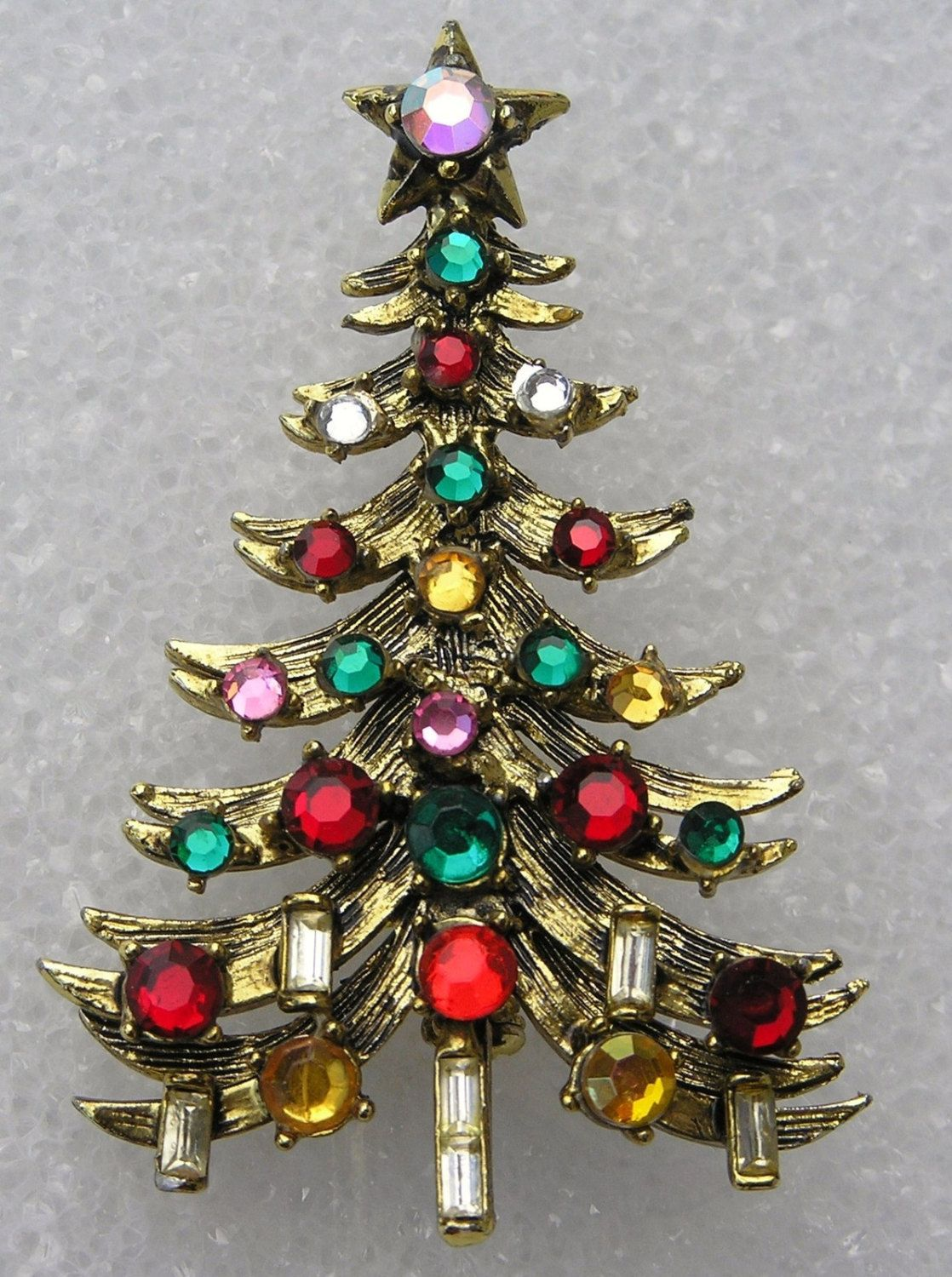a1138ed69 Vintage 1960s HollyCraft Christmas Tree Pin by JimRabun on Etsy ...