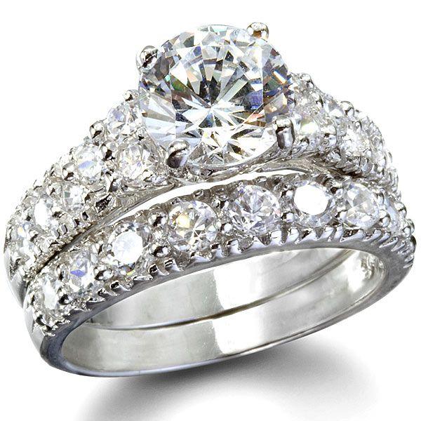 claires fancy faux cz wedding ring set 4 - Fancy Wedding Rings