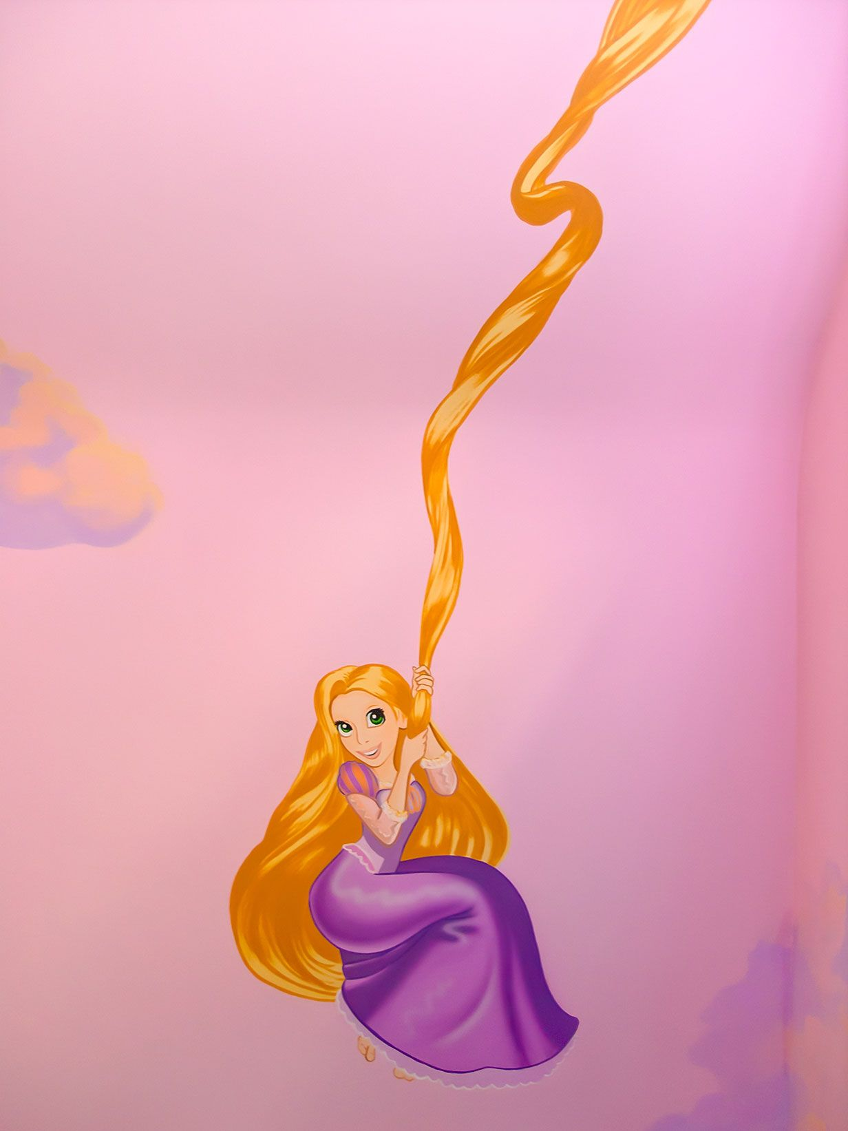 Rapunzel From Tangled Using Her Hair To Swing On, Disney
