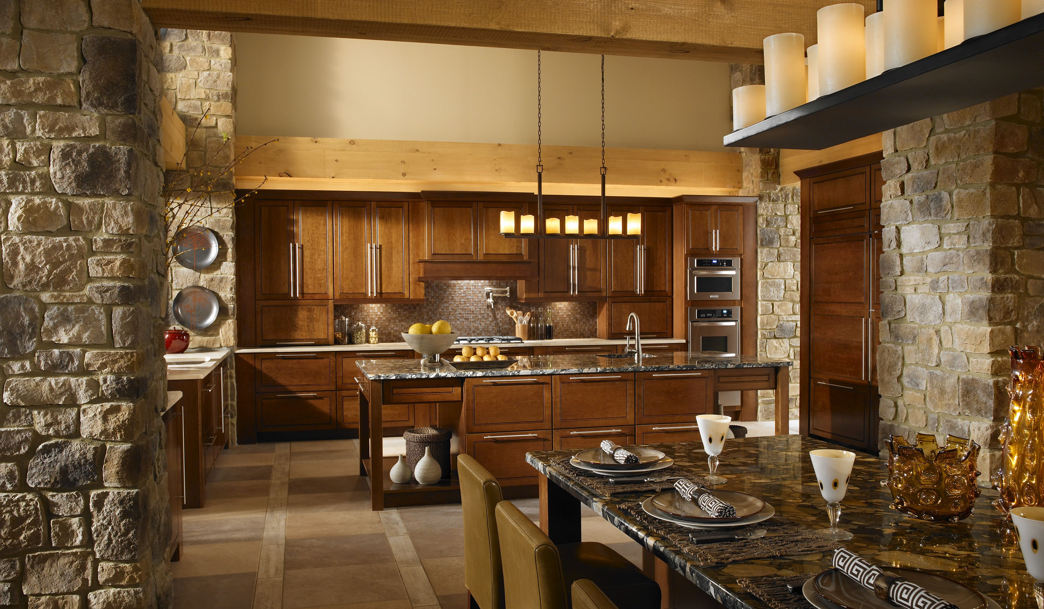 Rustic Stone Kitchen And Stone Pillars Candle Chandelier Farmhouse Kitchen Design Contemporary Kitchen Stone Wall Cladding