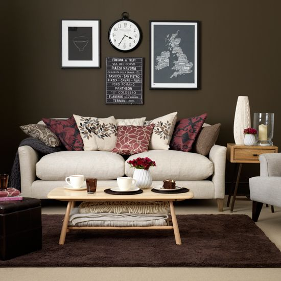 chocolate and cream living room  ideal home  brown