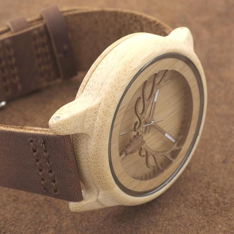2016 Deer Head WIth Hollow Out Technology Bamboo Wood Casual Watch With Genuine Leather Strap Quartz Watch With Gift Box Like and share this pure awesomeness! #shop #beauty #Woman's fashion #Products #Watch