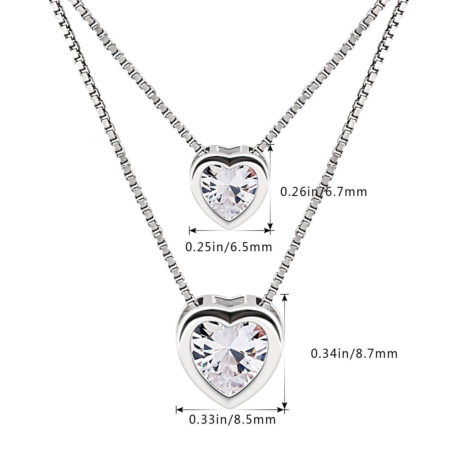 dde30baa3 B.Catcher Necklace Womens 925 Sterling Silver Cubic Zirconia Double Heart  Layer Bead Chains Necklace *** Click on the image for additional details.