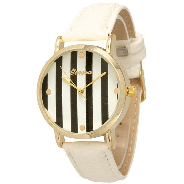 White Faux Leather Striped Watch