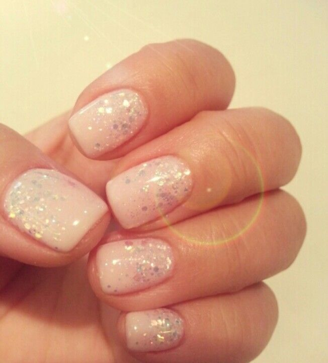White glitter ombre nail loveee health beauty pinterest white glitter ombre nail but w glitter on the tips prinsesfo Choice Image