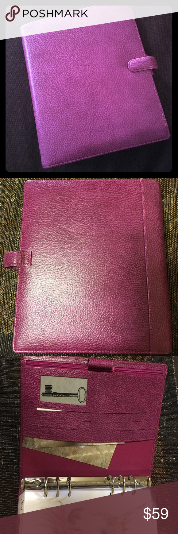 Filofax A5 binder w6 rings. Raspberry leather plan Filofax planner A5 size, 6 rings. Many pockets and slits. Will include my favorite Unicorn fave page, some other clear clip in pockets i have purchased. Amazing condition, no stains. filofax Accessories Laptop Cases