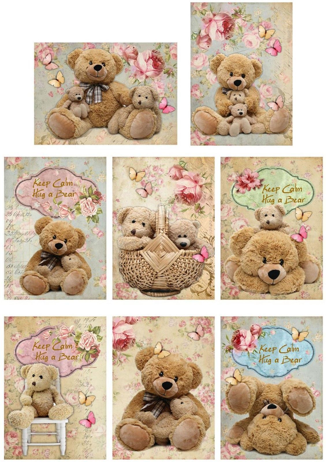 Vintage Inspired 8 Teddy Bears Keep Calm Hug A Bear Small Cards W Envelopes Printing On Fabric Teddy Small Cards