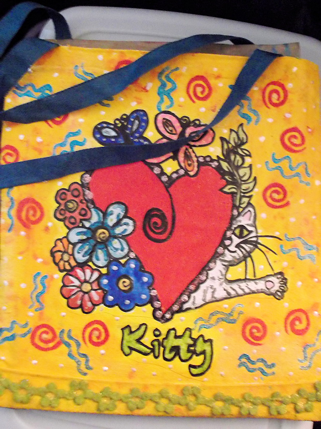 Hand drawn, painted  and embellished tote bag (Front)