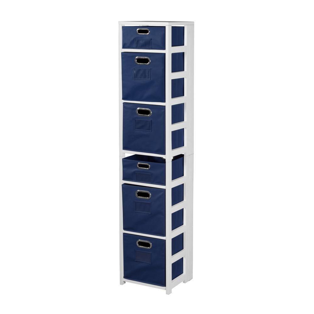 Niche flip flop white and blue 6shelf folding bookcase