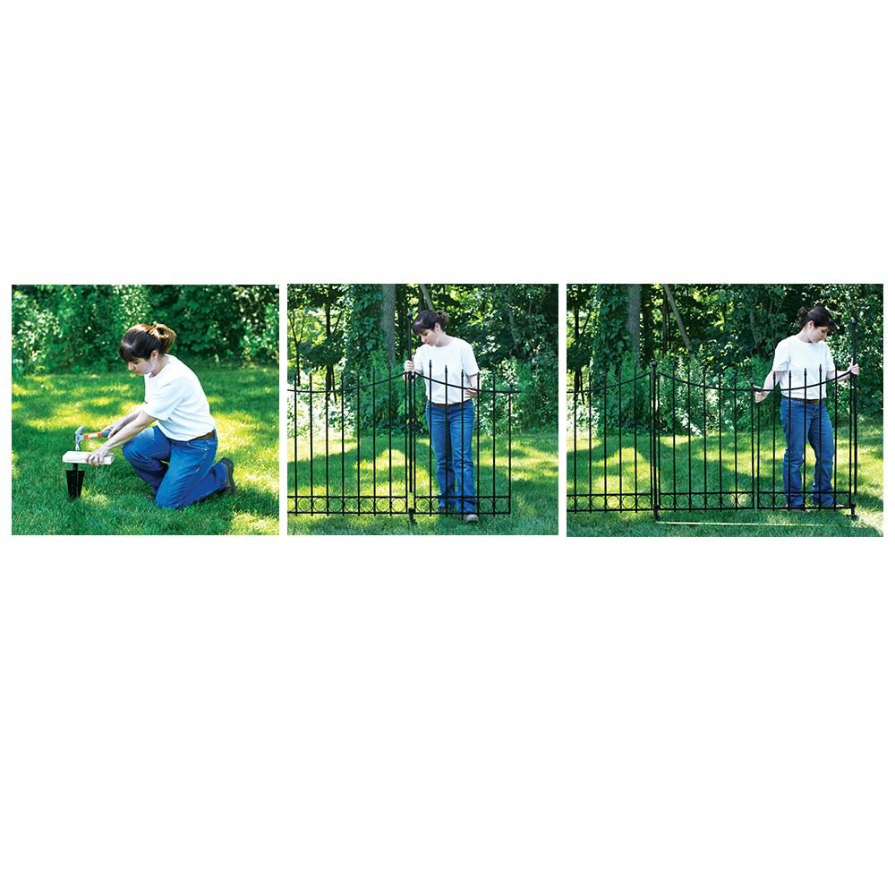Vigoro Beaumont 40 4 In H X 49 6 In W Black Steel 3 Rail Fence Panel 860336 The Home Depot Fence Panels Rail Fence Fence Gate