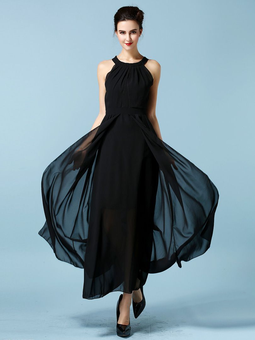 Black Backless Halter Chiffon Maxi Dress | Choies