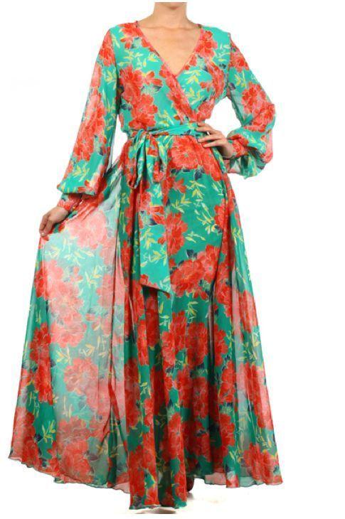 590c814e388 JADE ORANGE FLORAL FULL SWEEP Chiffon MAXI DRESS Wrap SHEER Gown Long Skirt  vtg  tamarstreasures  Maxi  Formal