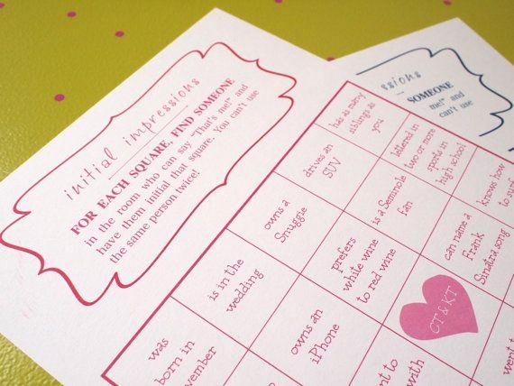 Wedding BINGO Game - great ice breaker - Customized, super fun game ...