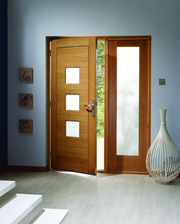Delightful External Oak Pattern 10 Sidelight With Obscure Glass 1981x584x44mm   External  Oak Sidelights   External Doors