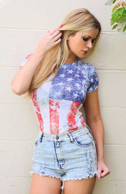 9495ebb500bb0 Sexy American USA Flag Distressed Burnt out Festival Patriotic T-shirt top  New #Jadedstylescom #KnitTop #Casual