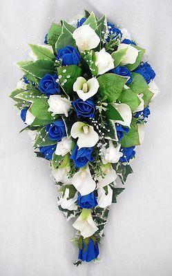 Wedding Flowers Bouquets Brides Bouquet Cala Lilies Ivory Royal Blue Roses