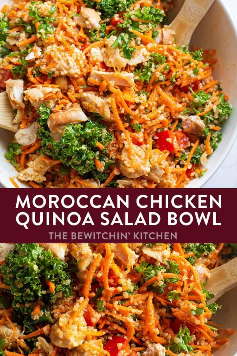 Moroccan Chicken Quinoa Salad The Bewitchin Kitchen Recipe Chicken Quinoa Salad Quinoa Salad Recipes Bowls Recipe